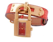 Hermes, Kelly, Lady's gold plated wrist watch