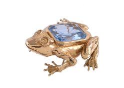 A blue paste frog brooch