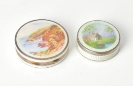Two German or Austrian silver and enamel circular boxes