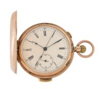 Unsigned, 9 carat gold keyless wind full hunter minute repeating pocket watch with chronograph