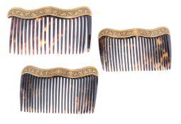 ϒ A set of three late 19th century Spanish tortoiseshell haircombs
