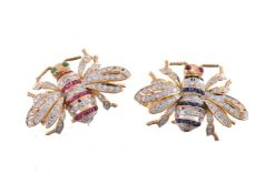 Two gem set bee brooches