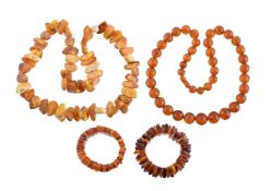 An amber necklace composed of irregular shaped angular beads