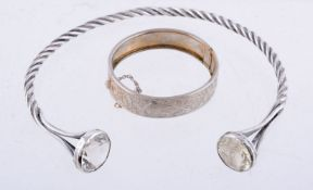 A silver coloured bangle