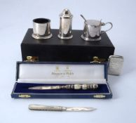ϒ A late Victorian silver and mother of pearl fruit knife by Hilliard & Thomason