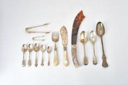 ϒ A late Victorian silver handled tortoiseshell page turner and various flatware