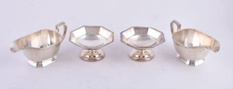 A pair of silver canted-rectangular sauce boats by Harrods Ltd