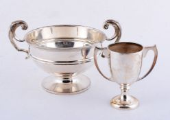 Two silver twin handled trophy cups