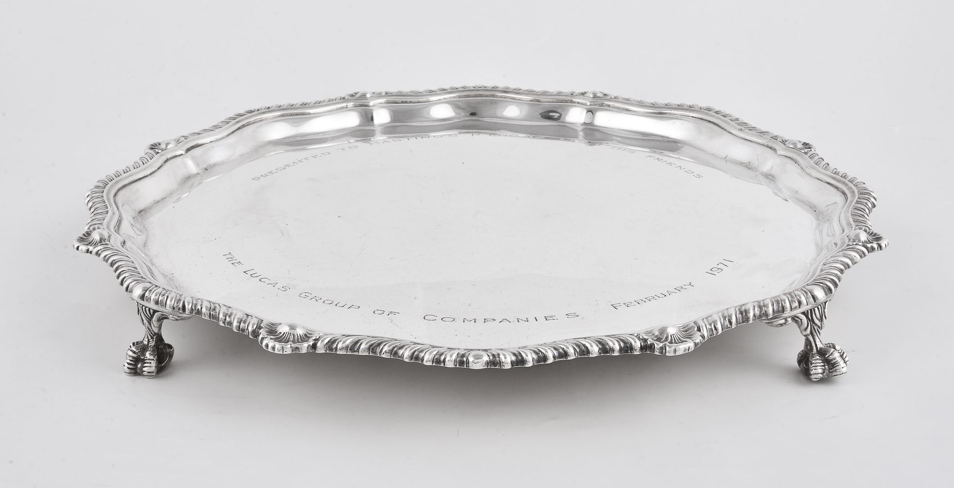 Lot 682 - An Irish silver shaped circular salver by Royal Irish Silver Co.