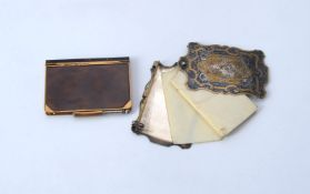 ϒ A 19th century electro-plate, gilt and niello aide memoire