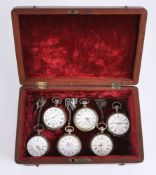 A collection of six white metal open face pocket watches