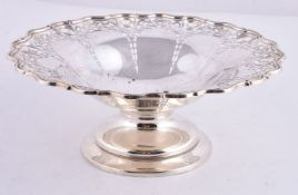 A silver shaped circular pedestal basket by James Dixon & Sons Ltd