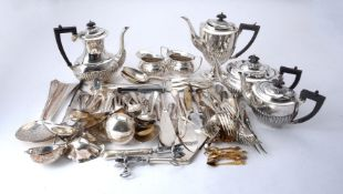 A quantity of electro-plated flatware and serving pieces