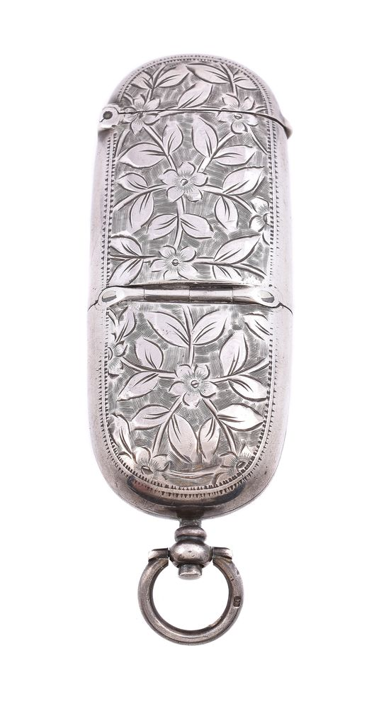 Lot 701 - A late Victorian silver oblong combination sovereign and vesta case by A. & J. Zimmerman