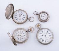 Russian white metal open face keyless wind pocket watch