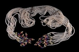 A freshwater cultured pearl and multi gem set necklace