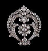 A diamond foliate plaque brooch