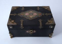 A champlevé enamel, brass and ebonised box