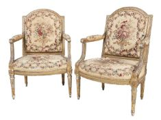 A suite of giltwood and painted seat furniture in Louis XV style