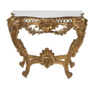 A giltwood console table in Louis XVI style