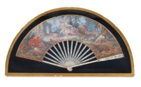 ϒ A French or Italian gouache paper and ivory mounted fan