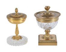 A fine Empire gilt bronze mounted glass encrier modelled as a brûle parfum