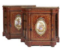 ϒ A pair of Napoleon III amboyna,tulipwood banded,porcelain inset & gilt metal mounted side cabinets