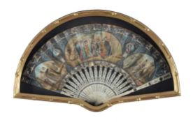 A Continental, probably French, paper and bone mounted fan in Historicist taste