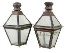 A pair of Irish copper and glazed lanterns