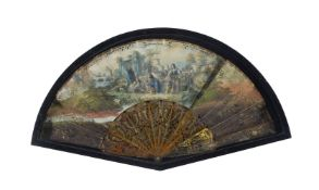 A Continental, probably French, paper and horn mounted fan