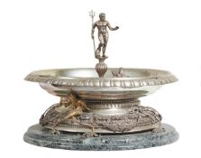 An Italian silver coloured, parcel gilt and verde antico mounted table fountain