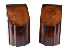 A pair of George III mahogany knife-boxes