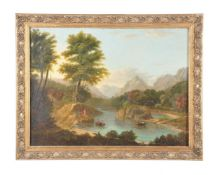 Continental School (late 18th century)A pair of river landscapes with figures boating