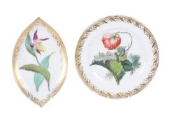 A Derby plate painted with a poppy