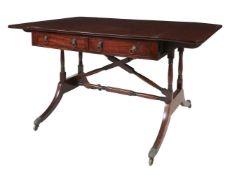 A Regency mahogany and boxwood strung sofa table