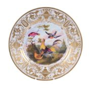 A Derby plate pained with fowl and other birds