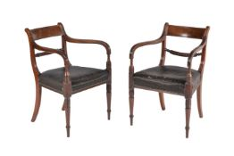 A pair of Regency mahogany armchairs