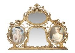 A French giltwood and composition overmantel mirror