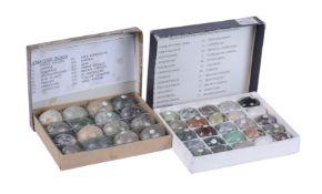 A collection of 25 semi-precious stone specimen models of eggs