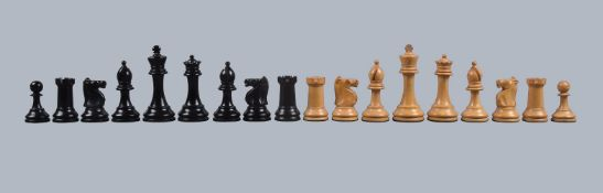 A Victorian weighted boxwood and ebonised Staunton Pattern chess set