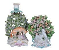 A Derby bocage candlestick group of a fox with fowl