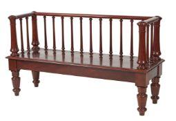 A Victorian mahogany hall bench