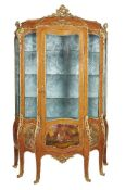 ϒ A Kingwood, gilt metal mounted and Vernis Martin decorated vitrine