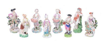 An assortment of Derby porcelain figures