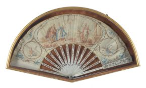 An Italian or French paper and bone mounted fan