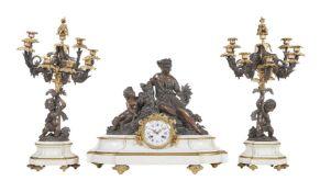 A gilt bronze and spelter clock garniture