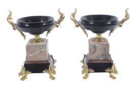 A pair of French gilt metal mounted sample marble tazzas