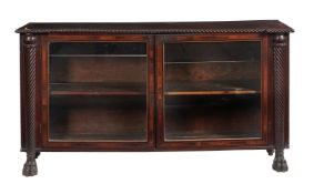 ϒ A Regency mahogany and rosewood crossbanded side cabinet
