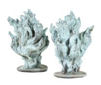 Two French or British verdigris bronze flambeau finials