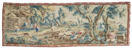 A French wool and silk pastoral tapestry